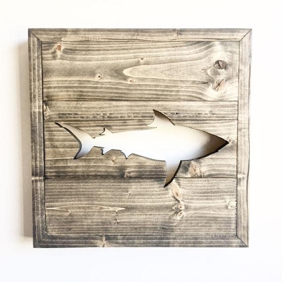 Rustic Wood Framed Shark Cutout / Custom Wall Decor