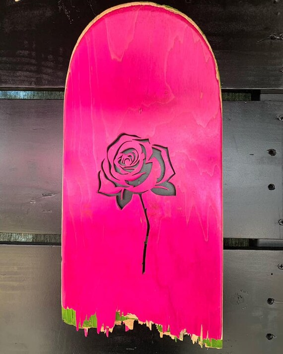 Rose Wall Decor Handmade From Recycled Skateboards