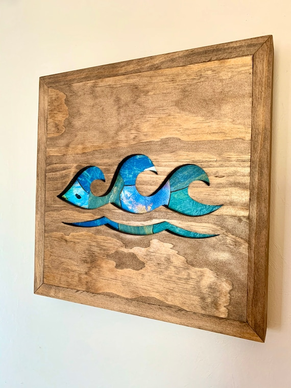 Handmade Recycled Skateboard Mosaic Wave Art