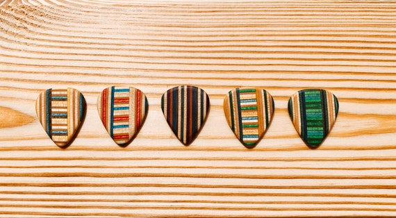 Guitar Picks Handmade From Recycled Skateboards