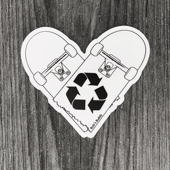 Recycled Skateboards Die-Cut Sticker