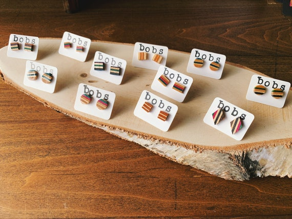 Recycled Skateboard Earrings / Custom Wood Jewelry / Handmade Earrings / Hypoallergenic / Gifts for Her / Skateboards