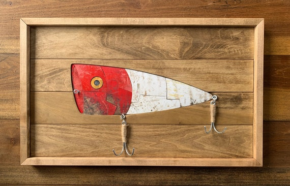 Mosaic Fishing Lure Wall Decor Handmade from Recycled Skateboards