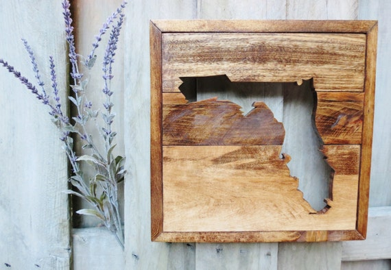 Handmade Wood State Wall Decor
