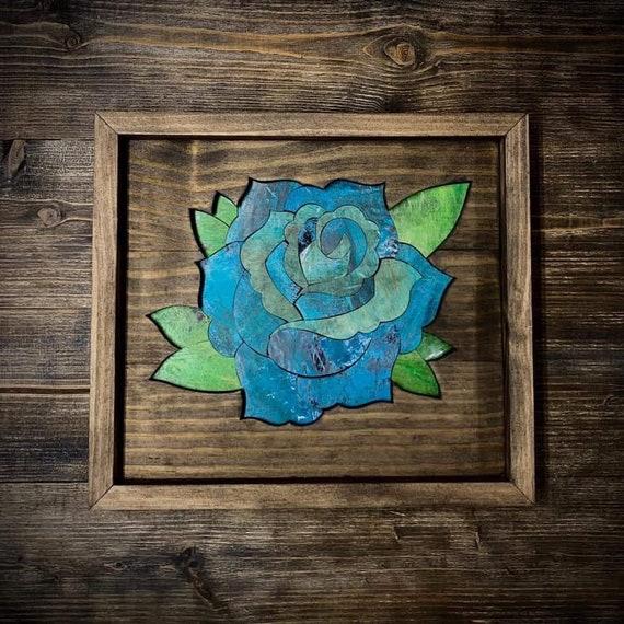 Handmade Recycled Skateboard Mosaic Rose Wood Art