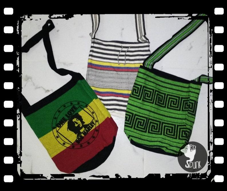 hand knitted Bob Marley stripe bag ethnic bag rasta prints hemp woven bag Hemp Shoulder Bags