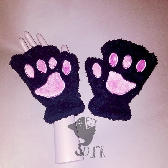 Black Cat Gloves For Carnival Cosplay Mittens Kitty Cat Etsy