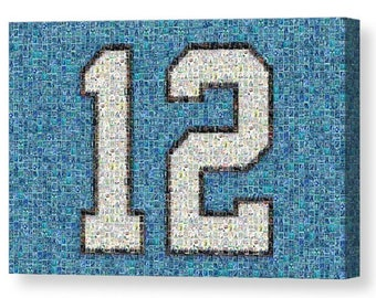 """Unique, Large Seattle Seahawks """"12"""" Mosaic Art Print made of over 200 Seahawk Player Cards.  All the Greats Included!"""