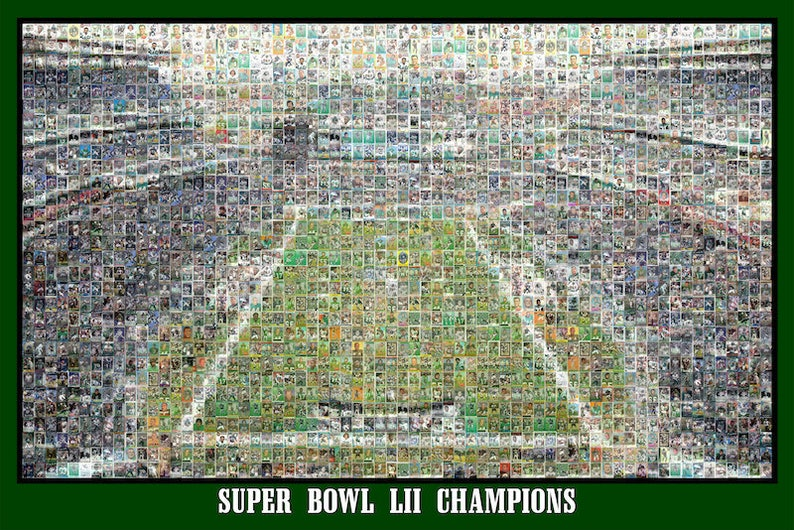 los angeles 39fd3 999bb Unique Philadelphia Eagles Super Bowl Mosaic Art of Lincoln Field of Player  Card Images! A Unique Gift in Print or Canvas. Free Shipping.