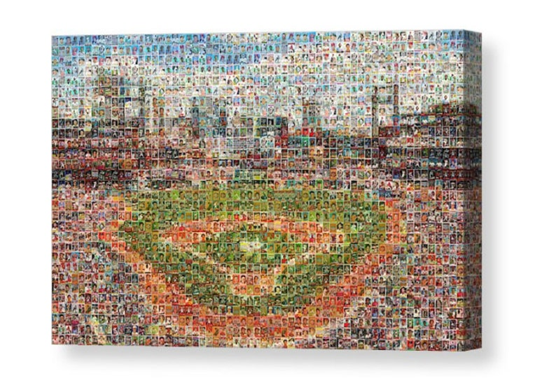 Unique St Louis Cardinals Baseball Mosaic Art Of Busch Stadium From Over 400 Unique Trading Card Images Canvas Or Printfree Shipping