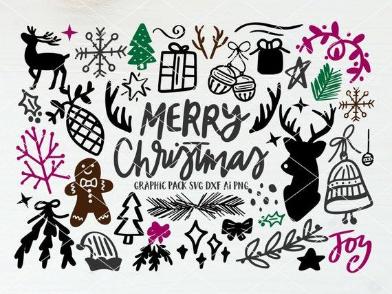 Christmas Illustrations Png.Instant Svg Dxf Ai Png Christmas Hand Drawn Graphics Svg Doodles Christmas Illustrations Ornaments Cut Files Clip Art Svg Bundle Dxf