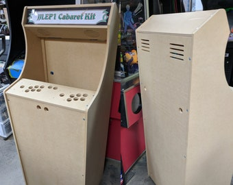 """LVL23C 54"""" Tall 2 Player Cabaret Arcade Cabinet Kit w/ marquee holder flat pack mdf HAPP style joystick mounting pattern Easy to Assemble"""