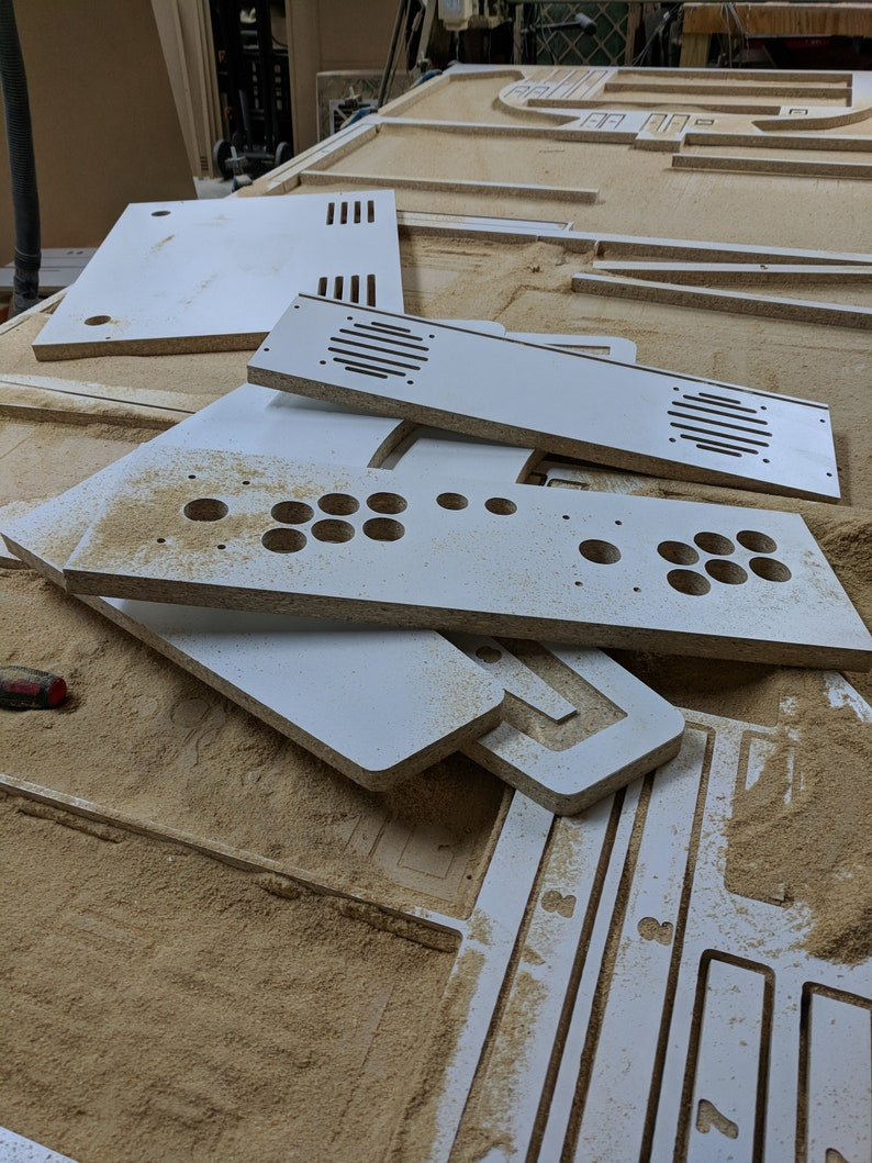 Easy to Assemble LVL23W 2 Player WHITE Edition bartop  arcade cabinet kit w marquee holder flat pack Slotted 34 Melamine SHIPPING INCLUDED