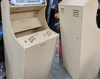 """LVL23C 54"""" Tall 2 Player Cabaret Arcade Cabinet Kit w/ marquee holder flat pack mdf Sanwa joystick mounting pattern DIY Easy to Assemble"""