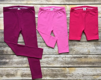 Girls Leggings // Pants, Capris, and Shorts Sizes 3m-12y // Multiple Solid Colors to Choose From