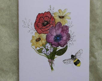 Watercolor flowers and bee card Print