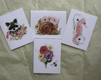 Watercolor Print Card Set: Raccoon, Snail, Seahorse, Flowers, Bee