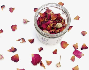 Rose Bathing Flowers - natural romantic floral bath soak, rose bath tea, ritual self care witchy moon bath for witchraft and wicca