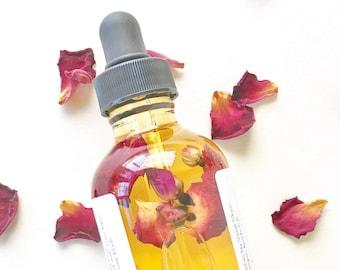 Rose Facial Oil // rose hip oil // facial serum // facial moisturizer // rose hip infused // natural beauty // vegan skin care // multi use