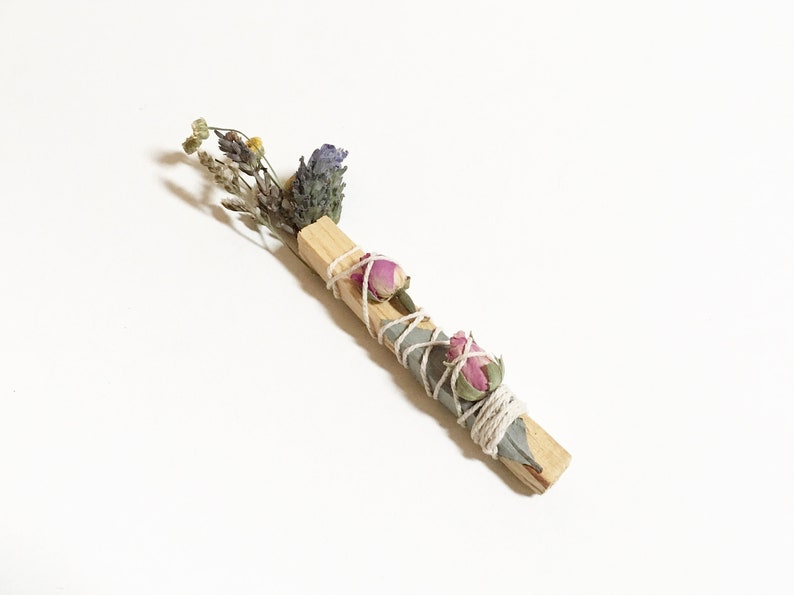 Floral Palo Santo Smudge Bundle  white sage & flower wrapped image 0