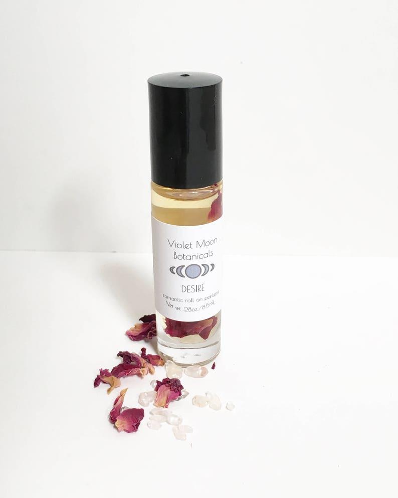 Romantic Amber Scent Perfume Oil Roll On  natural rose quartz image 0