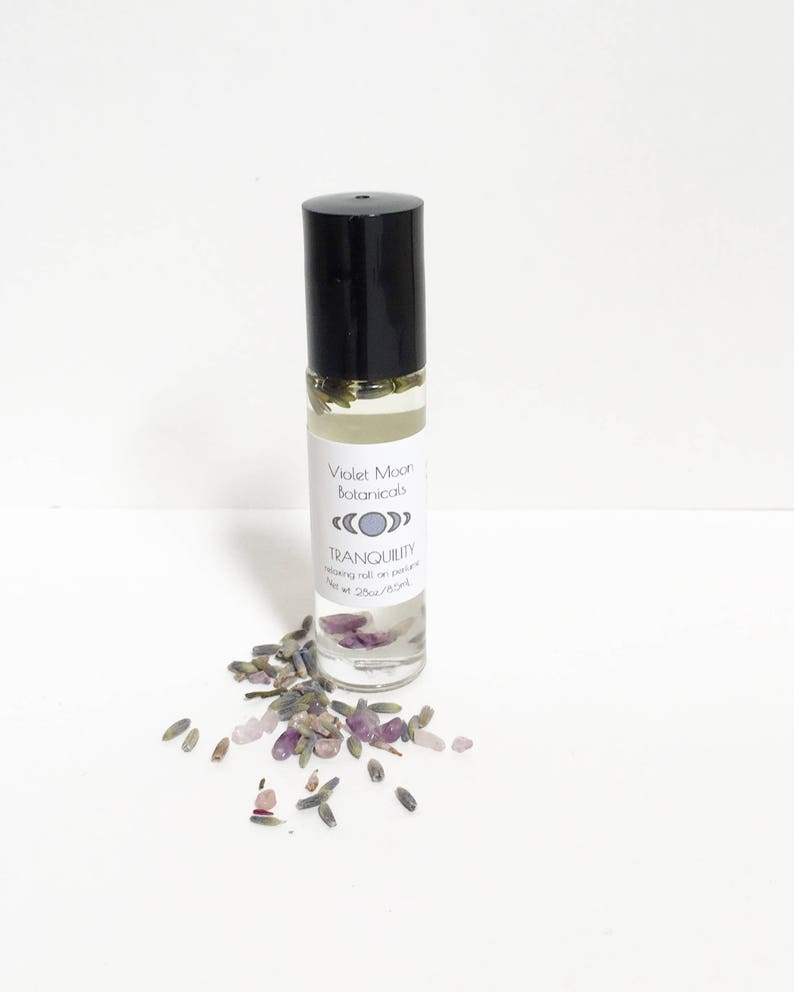 Lavender Scent Perfume Oil Roll On natural amethyst crystal image 0