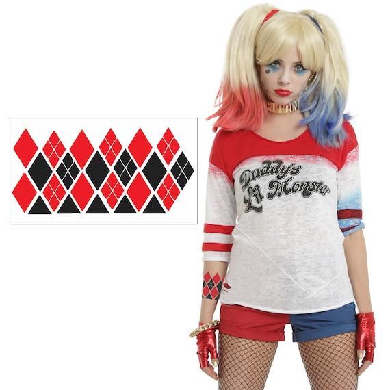 Harley Quinn Costume tatuajes temporales tatuajes de brazo | Etsy