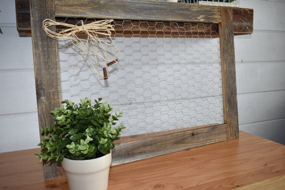 Reclaimed wood Chicken wire frame for photos and home decor   Etsy