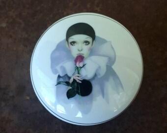 Gorgeous Michel Oks Pierrot Love clown trinket dish by Belina 1980s