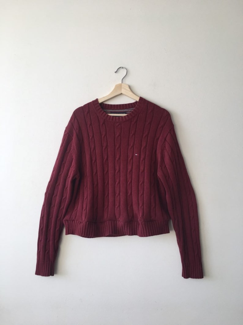 b6e187a0e2ef0a Vintage Tommy Hilfiger Cable Knit Cropped Sweater