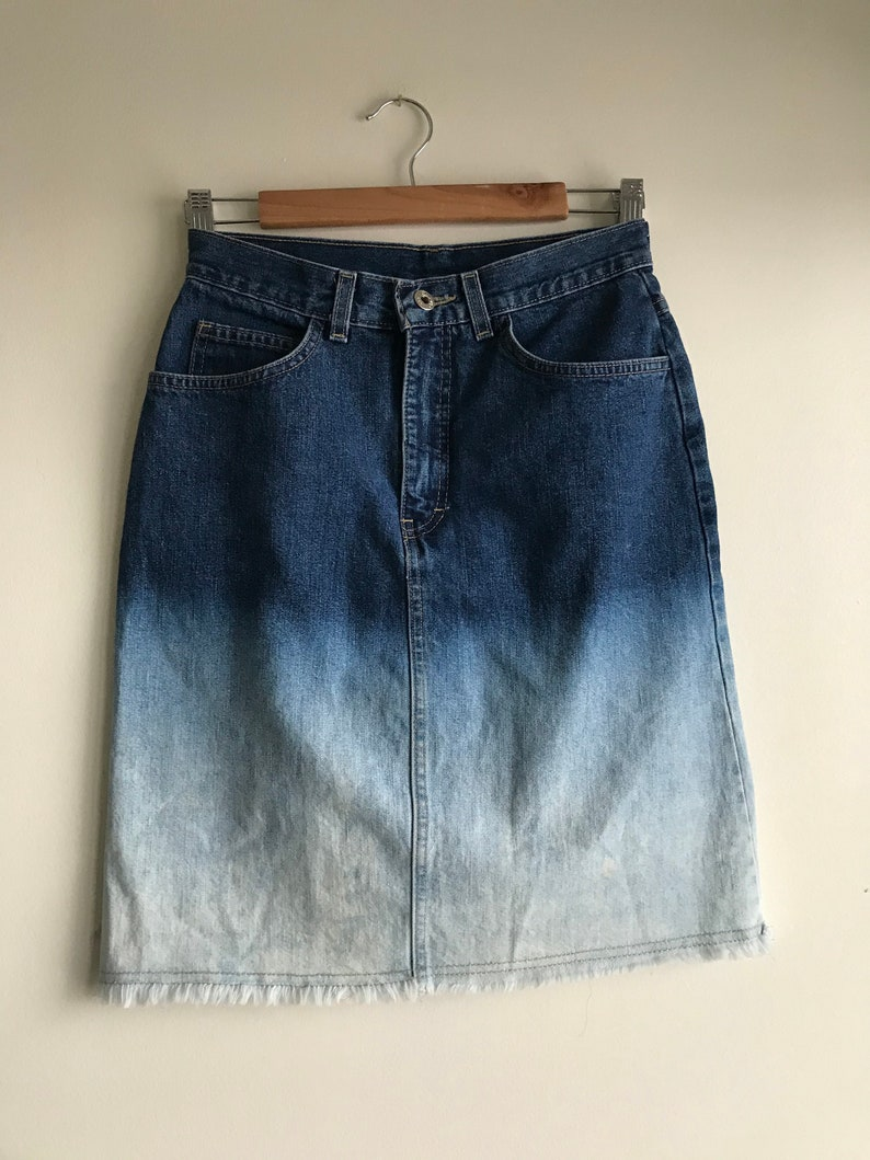 Vintage Denim Ombr\u00e9 Skirt