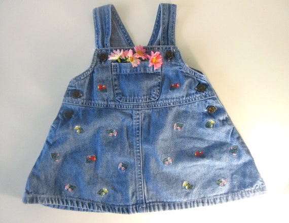 best authentic hot new products quite nice Vintage Kids Denim Dungaree Dress