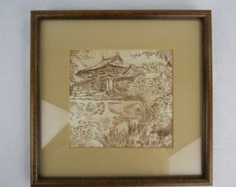 Gorgeous Chinese Sepia Etching on Rice Paper from the 1930s, Chinese Landscape Etching with Temple Professionally Framed