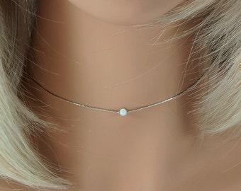 Silver Opal Choker Thin White Minimal Small NecklaceGemstone Gift
