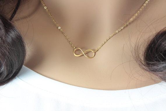 Gold Unendlichkeit Halskette Infinity Unendlichkeit Gold   Etsy e54b4dd242