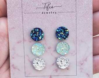 Hypoallergenic earring CHILDREN EARRINGS DRUZY stud earrings GoldRaspberry Aquamarine Druzy earring flower girl earrings Kids earrings