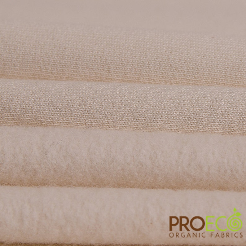 ProECO\u00ae Organic Cotton Fleece Fabric Natural, sold by the yard
