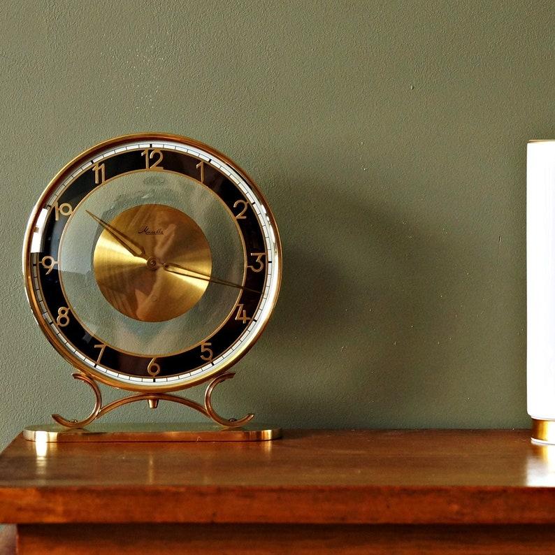 Horloge de bureau Art Déco / horloge de table, laiton et verre, par Mauthe, allemagne