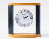 Vintage Table Clock by Seiko, glass and wood