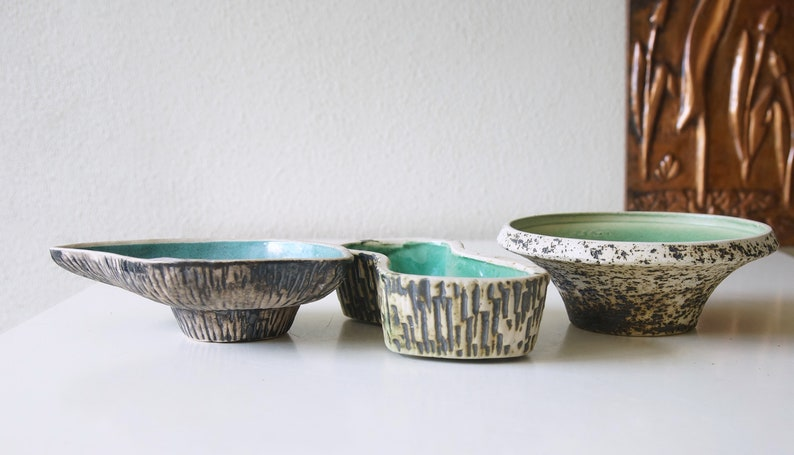 Dutch Pottery Set of three Mid Century planters  flower pots Birch Bark decor