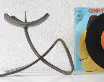 Brutalist candle holder, wrought iron, Mid Century
