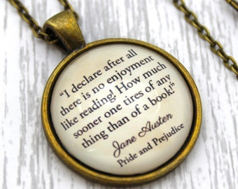Jane Austen, 'There Is No Enjoyment Like Reading', Pride and Prejudice Quote Necklace or Keychain, Keyring.