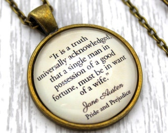 Jane Austen, 'It Is A Truth Universally Acknowledged', Pride and Prejudice Quote Necklace or Keychain, Keyring.