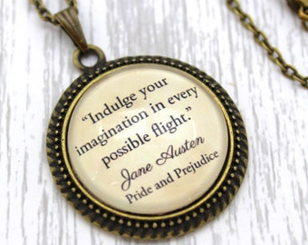 Jane Austen, 'Indulge Your Imagination', Pride and Prejudice Quote Necklace or Keychain, Keyring.