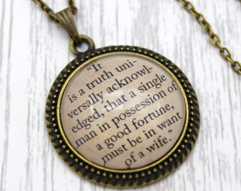 Pride and Prejudice, 'It Is A Truth Universally Acknowledged', Jane Austen Quote Necklace or Keychain, Keyring.