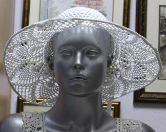 Summer Lace Hat - Crochet Cotton Hat - Woman Slouchy Hat - Handmade Beach Hat - White Panama Hat - Crochet Sunhats - Pineapple Pattern