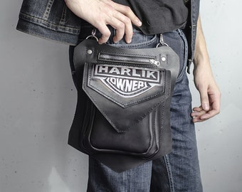 Leather biker bag, Hip bag, Leg holster, Belt tigh bag, Unisex belt bag, Motocycles bag, Black biker bag, Harley Davidson