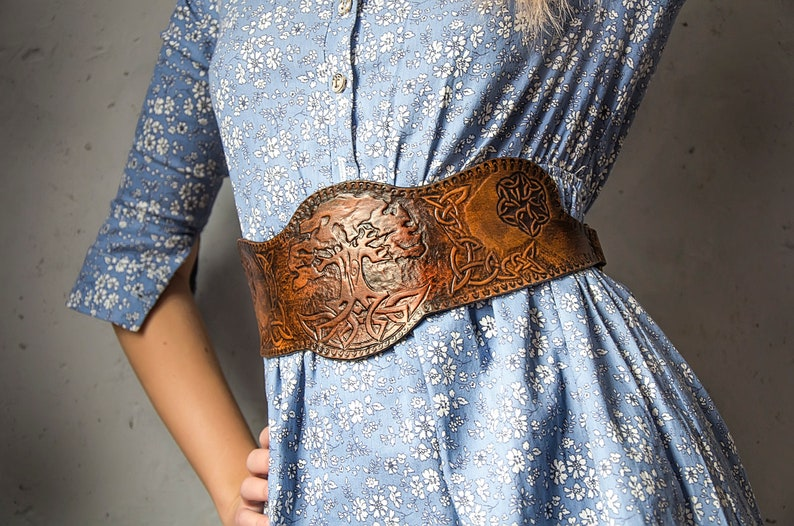half corset Leather underbust corset genuine leather belt hand engraving on leather wide brown leather belt Leather corset belt