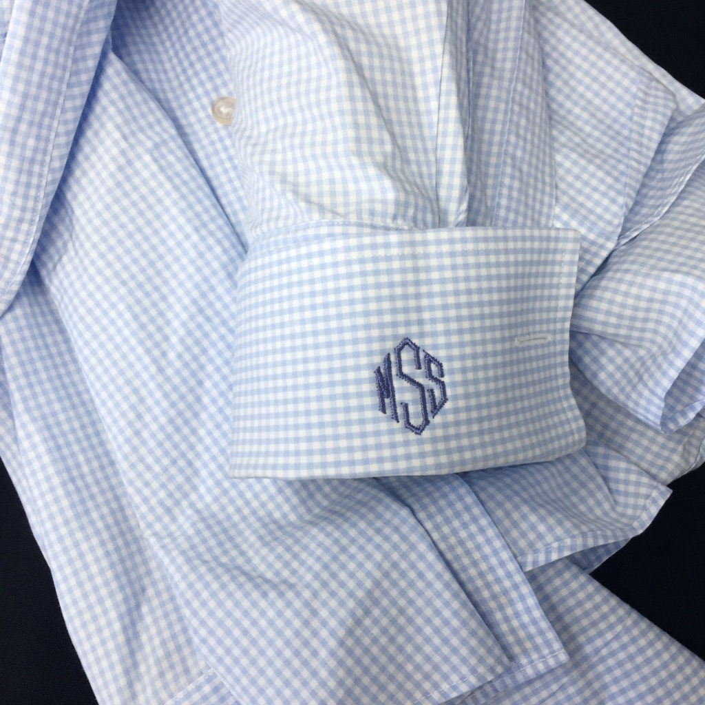 3 Initial Monogram Monogrammed Shirt Cuff Personalized Etsy