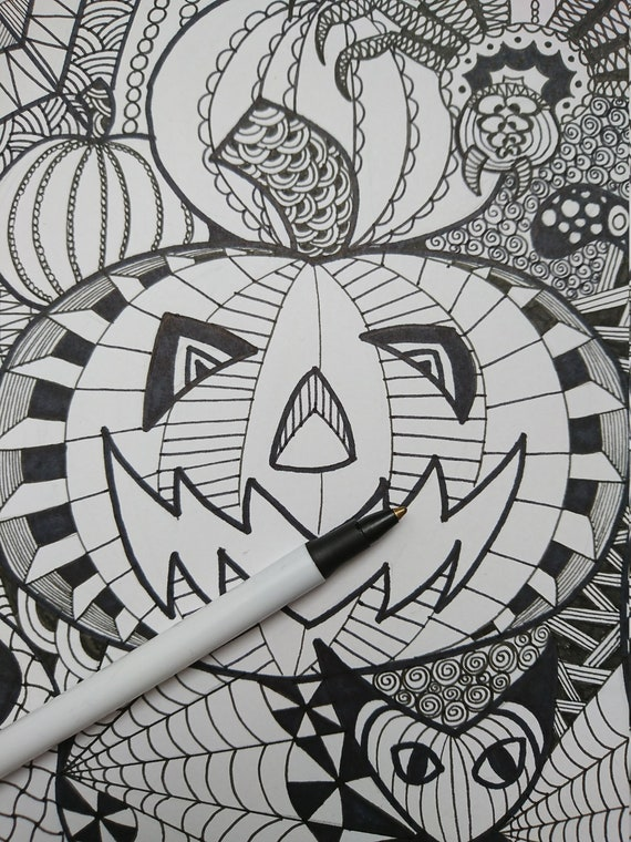 Halloween Zentangle Colouring Page Etsy